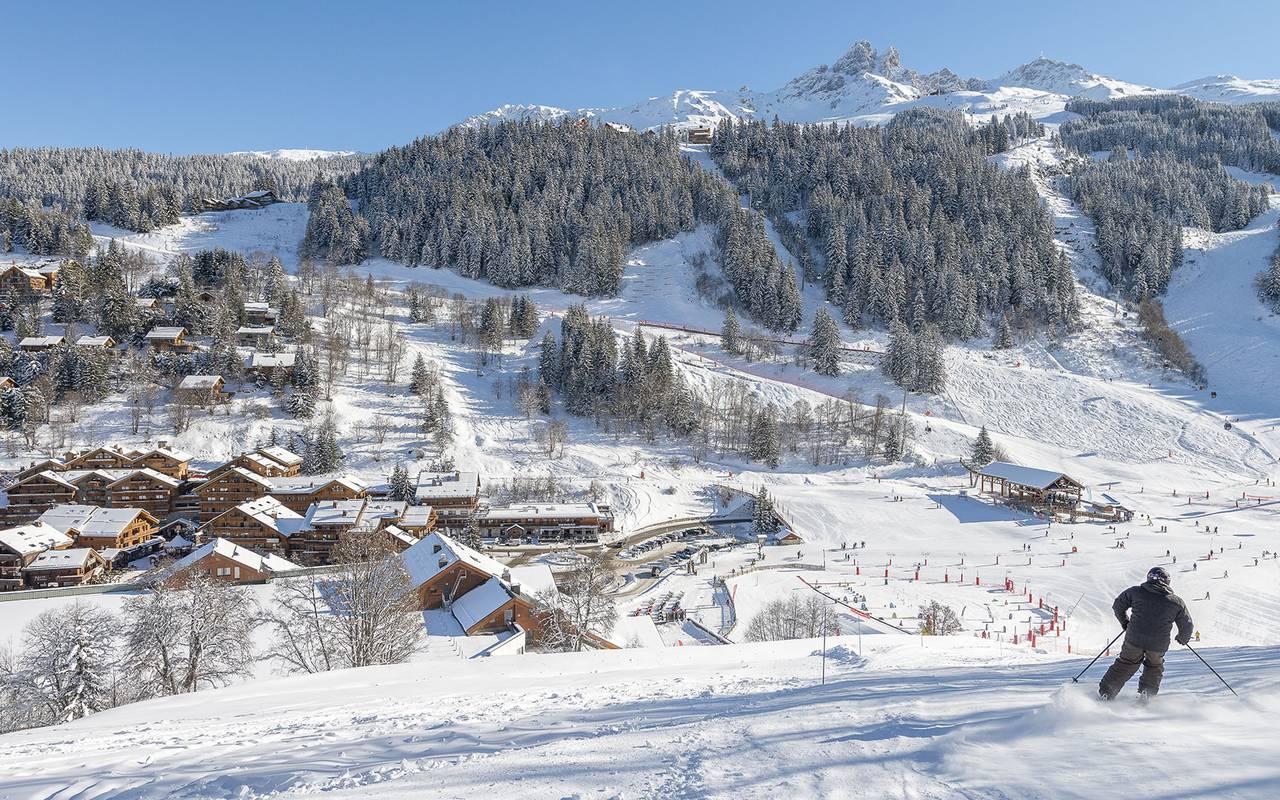 Ski resort and snowy mountains in winter, Hôtel Méribel, La Chaudanne.