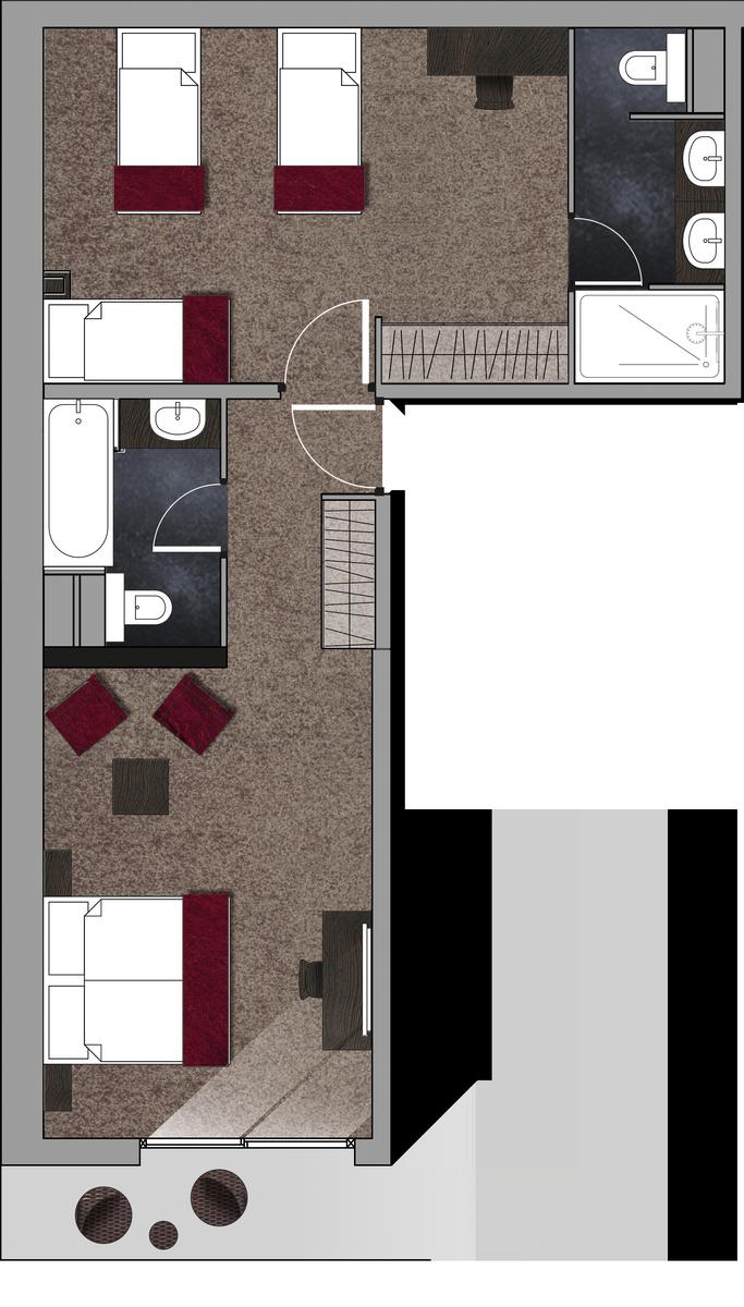 Plan Chambre Avec Salle De Bain Ouverte ~ chambre 5 personnes m ribel hotel la chaudanne